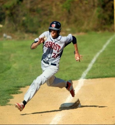 Tim Brennan rounds third and heads for home for Holy Ghost Prep. Sarah Webb)