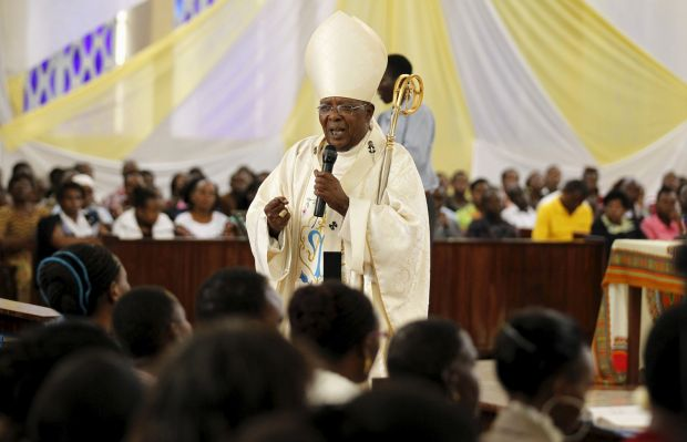 Cardinal John Njue of Nairobi, Kenya, delivers the homily during a special Easter Mass April 5 at Holy Family Basilica in Nairobi for victims of the massacre at Garissa University College. (CNS photo/Thomas Mukoya, Reuters)