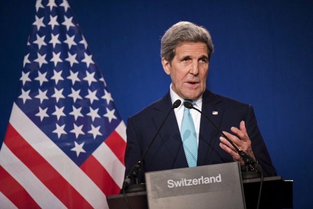 U.S. Secretary of State John Kerry speaks to the press April 2  in Lausanne, Switzerland, following talks with Iran about its nuclear program.  (CNS photo/Brendan Smialowski, pool via Reuters)
