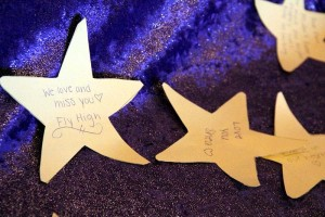 Girls were asked to write a message on a star for Shea McKinight.