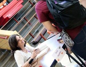 Beth Kephart signs books