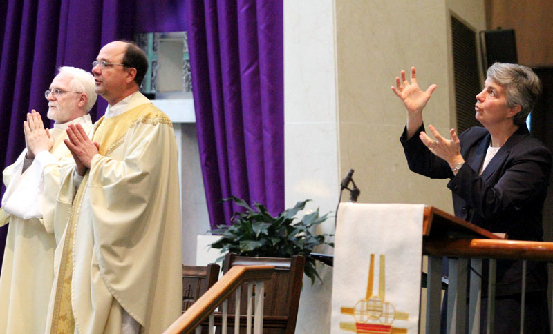 Deacon Ralph Shirley, Fr. Thomas Nasta, Sr. Kathleen Schipani IHM