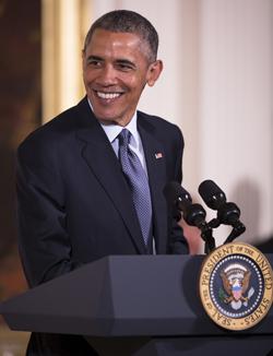 U.S. President Barack Obama speaks during  an Easter prayer breakfast in the East Room of the White House in Washington April 7. (CNS photo/Tyler Orsburn)
