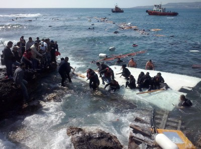 Migrants arrive at Zefyros beach near the coast of the southeastern island of Rhodes, Greece, April 20. At least three people drowned the day after Pope Francis appealed for the international community to do more to prevent such migrant deaths. (CNS photo/Loukas Mastis, EPA)