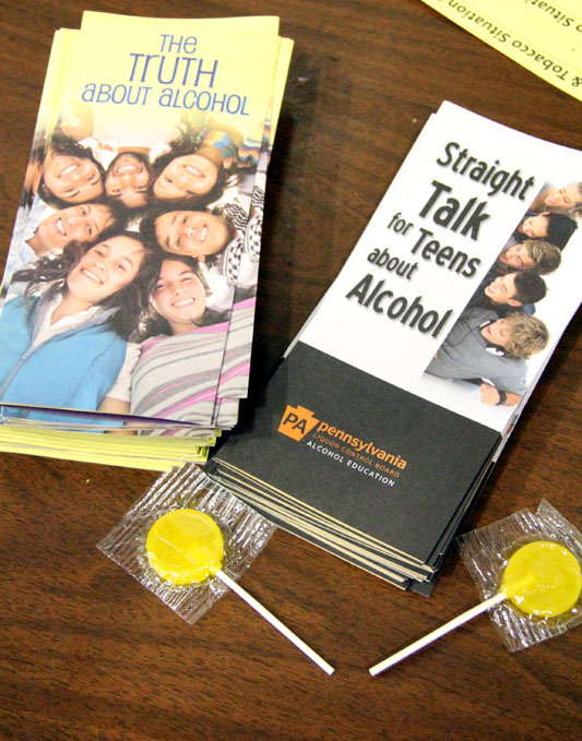 Pamphlets were available for students.  If they answered a question based off information from the pamphlet right they got a lollipop.