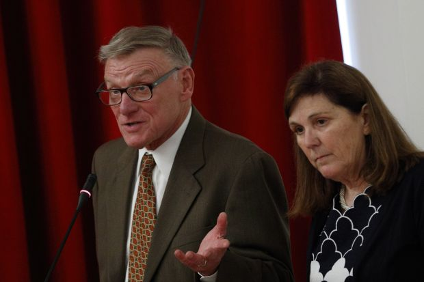 Robert Senkewicz and Rose Marie Beebe, who are married and are professors at Santa Clara University in California, speak at a media briefing on Blessed Junipero Serra sponsored by the Archdiocese of Los Angeles in Rome April 30. (CNS photo/Paul Haring)