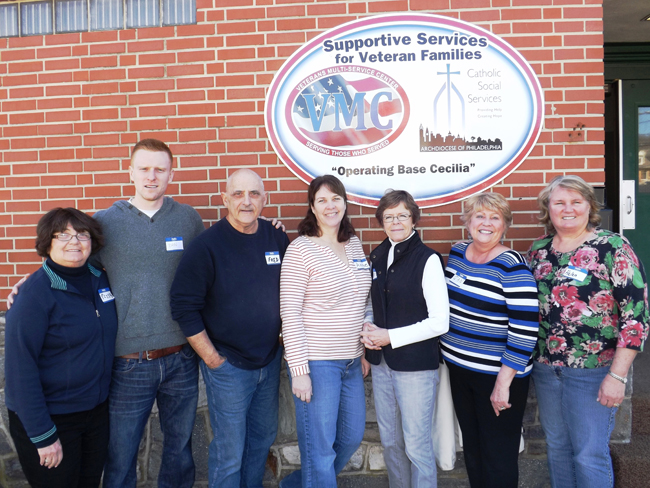 "The volunteers from the Social Outreach Team of St. Cornelius Parish in Chadds Ford meet at ""Operating Base Cecilia,"" a veterans program of Catholic Social Services and the Veterans Multi-Service Center in Coatesville. It is on the site of the former St. Cecilia Catholic School."