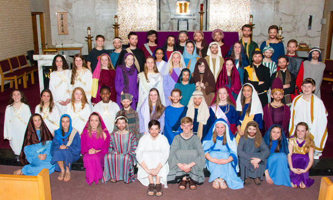The cast of St. Ignatius School's Passion Play.