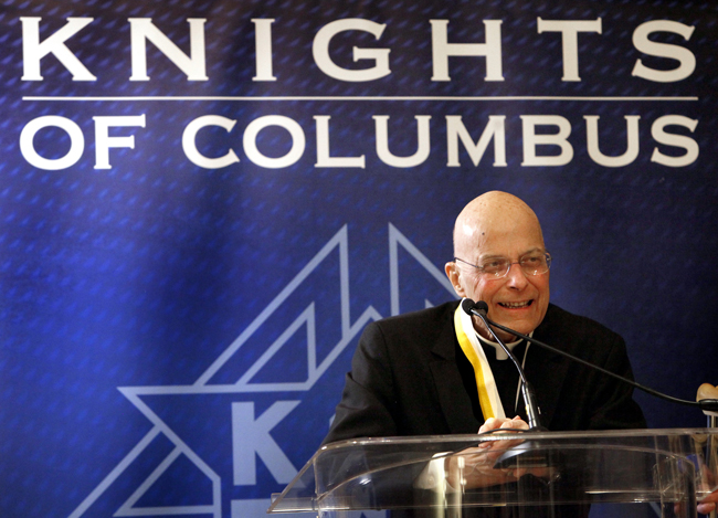 Cardinal Francis E. George, retired archbishop of Chicago, speaks to media Jan. 30 in Chicago after receiving the Gaudium et Spes Award from Supreme Knight Carl Anderson. Cardinal George, 78, died April 17 after a long battle with cancer. (CNS photo/Karen Callaway, Catholic New World)