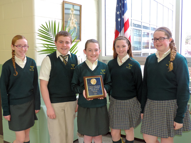 "Nativity's winning ""A"" team members, from left: Alaina Tulskie, Sam Hezel, Sarah Cannon, Katie Gibson and Alyssa Fortunato."