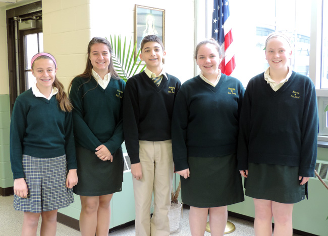 "Nativity's ""B"" team members, from left: Emily Borell, Grace Borell, Michael Messina, Kaitlin Lawler and Samantha O'Hara."