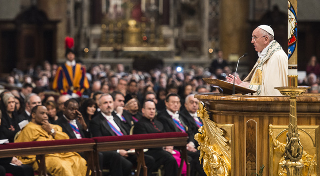 Pope Francis preaches during first vespers of Divine Mercy Sunday in St. Peter's Basilica at the Vatican April 11. (CNS photo/Cristian Gennari)