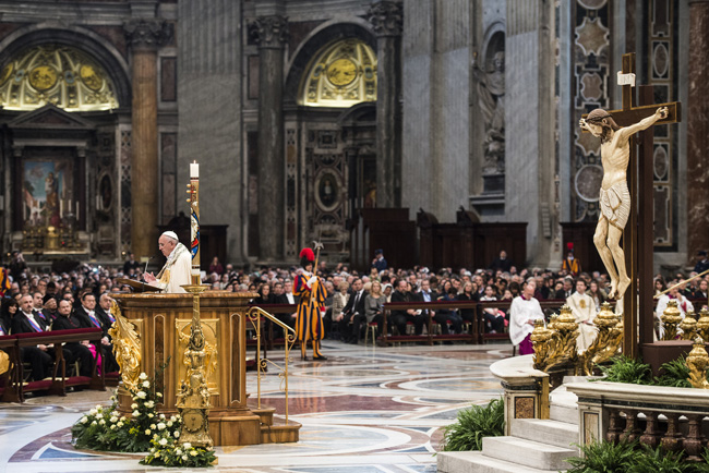 Pope Francis preaches during first vespers of Divine Mercy Sunday in St. Peter's Basilica at the Vatican April 11. Before celebrating vespers, the pope released a 9,300-word document officially proclaiming the 2015-2016 extraordinary Holy Year of Mercy. (CNS photo/Cristian Gennari)