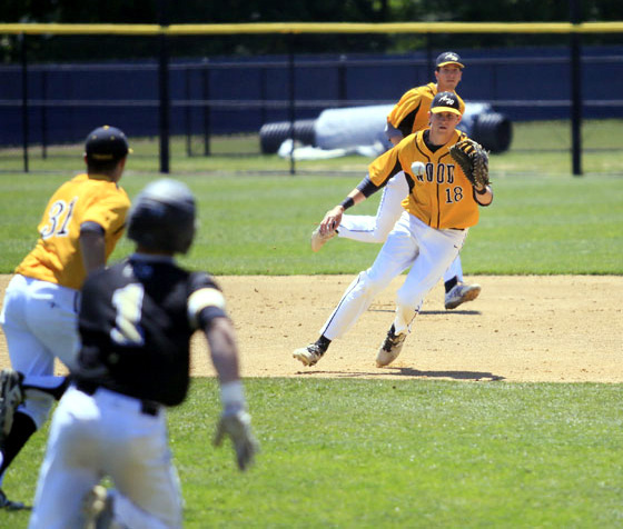 Wood Sean Kelly stays on top of the ball and easily gets the out at first