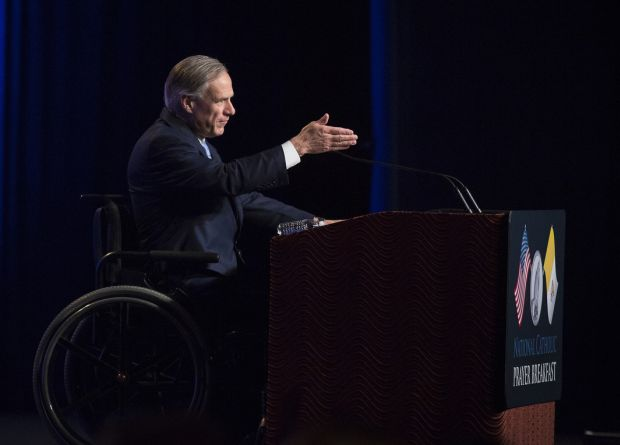Texas Governor Greg Abbott speaks during the 11th annual National Catholic Prayer Breakfast May 7 at the Marriott Marquis Hotel in Washington. (CNS photo/Tyler Orsburn)
