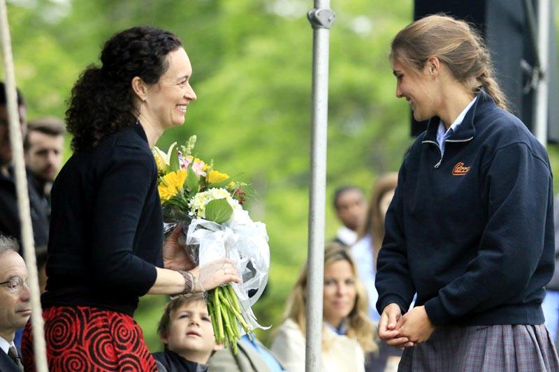 Doobie Nowlan's wife Heather is presented with flowers