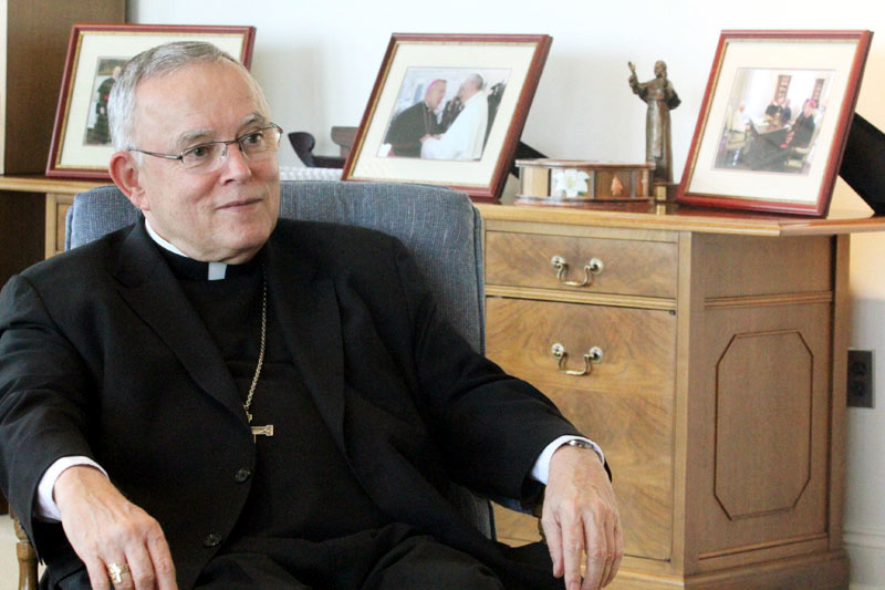 Archbishop Charles Chaput discusses the Philadelphia Archdiocese and the coming World Meeting of Families and visit of Pope Francis to Philadelphia. (Photo by Sarah Webb)