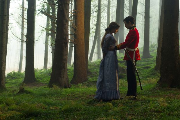"Carey Mulligan and Tom Sturridge star in a scene from the movie ""'Far From the Madding Crowd.""  (CNS photo/Fox Searchlight)"