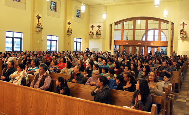 The concert-goers fill St. Rocco's, the parish for Hispanic Catholics in Avondale, Chester County.