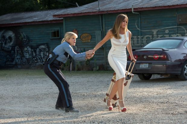 "Reese Witherspoon and Sofia Vergara star in a scene from the movie ""Hot Pursuit.""  (CNS photo/Warner Bros.)"