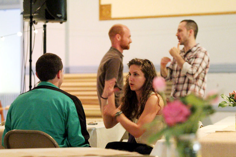 Catholic young adults socialize at the Secular Oratorian fundraiser event May 2. (Sarah Webb)