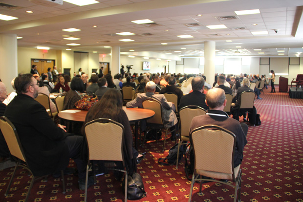 Approximately 300 participants at the conference, including scores of clergy, religious and lay persons from parishes of the Philadelphia Archdiocese, meet April 30 at St. Josephs University. Margaret Ernst)