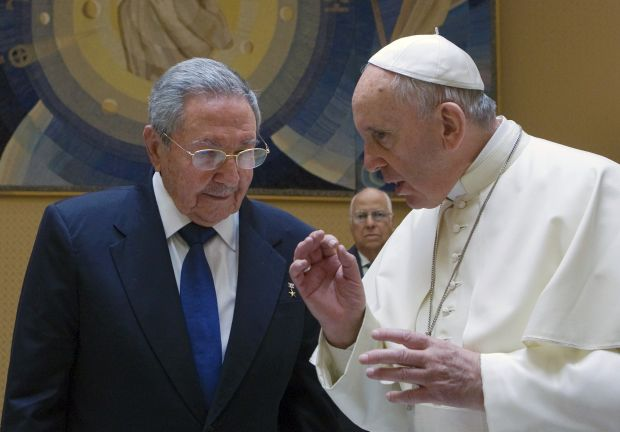 Cuban President Raul Castro talks with Pope Francis during a private audience at the Vatican May 10. (CNS photo/Maria Grazia Picciarella, pool)