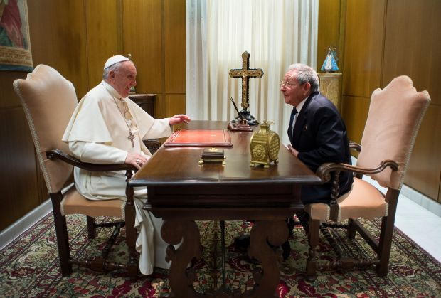 Pope Francis meets with Cuban President Raul Castro during a private audience in Paul VI hall at the Vatican May 10. (CNS photo/L'Osservatore Romano, pool)