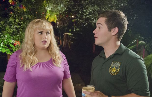 "Rebel Wilson and Adam DeVine star in a scene from the movie ""Pitch Perfect 2."" (CNS photo/Universal)"