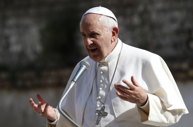 Pope Francis speaks in this May 3, 2015 file photo. (CNS photo/Paul Haring)
