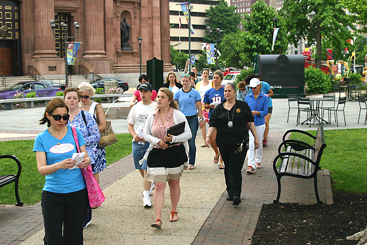 The Walking with Purpose group heads out from the Cathedral Basilica of SS. Peter and Paul across Sister Cities Park to begin the rosary walk to the Philadelphia Museum of Art.