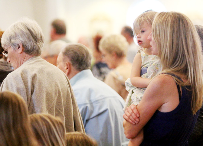 Isabell Johnston attends mass with her mom Anne and sisters Maren, Brigid and Teresa