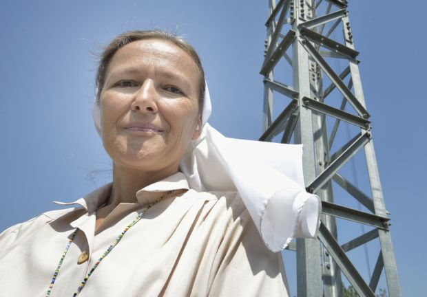 "Comboni Sister Elena Balatti is pictured in an April 10 photo in Malakal, South Sudan, where she directs the embattled ""Voice of Love"" Catholic radio station. (CNS photo/Paul Jeffrey)"
