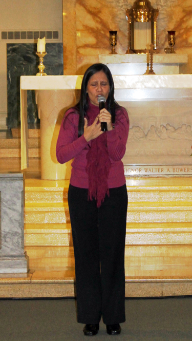 Evangelist and singer/songwriter Silvia Mariella shares her Catholic faith at St. Rocco Church.