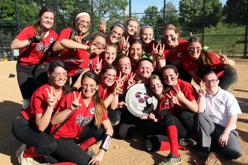 Archbishop Ryan's softball team celebrates its second consecutive Catholic League championship. (Photos by Sarah Webb)