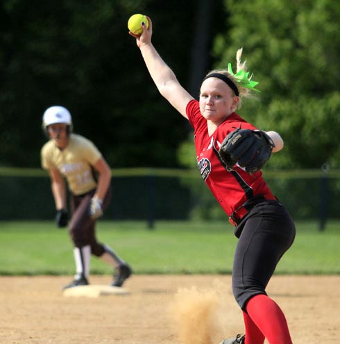Archbishop Ryan's Kerri Dadalski winds up for a pitch.