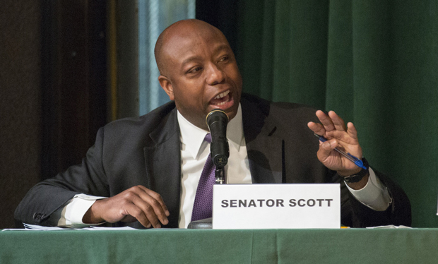 Republican Sen. Tim Scott of South Carolina talks about his own education and his support for reauthorizing funds for a scholarship program benefiting low-income students in the District of Columbia. Scott spoke May 14 at a House committee hearing held at Archbishop Carroll High School in Washington. (CNS photo/Jaclyn Lippelmann, Catholic Standard)