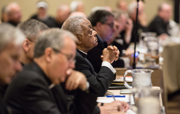 Atlanta Archbishop Wilton D. Gregory listens to a presentation June 11 during the spring general assembly of the U.S. Conference of Catholic Bishops in St. Louis. (CNS photo/Lisa Johnston, St. Louis Review)