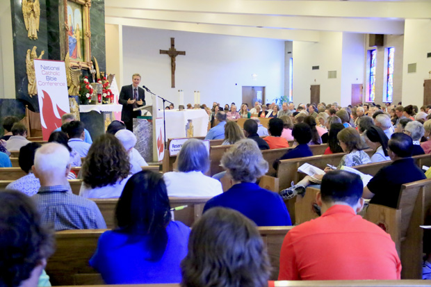 More than a thousand attendees listen to a speaker during the National Catholic Bible Conference June 19-20 at the Shine of Our Lady of Czestochowa in Doylestown. (Sarah Webb)