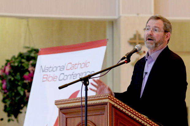 Keynote speaker Jeff Cavins, co-developer of a program on which the National Catholic Bible Conference is based, speaks at a conference session. (Sarah Webb)