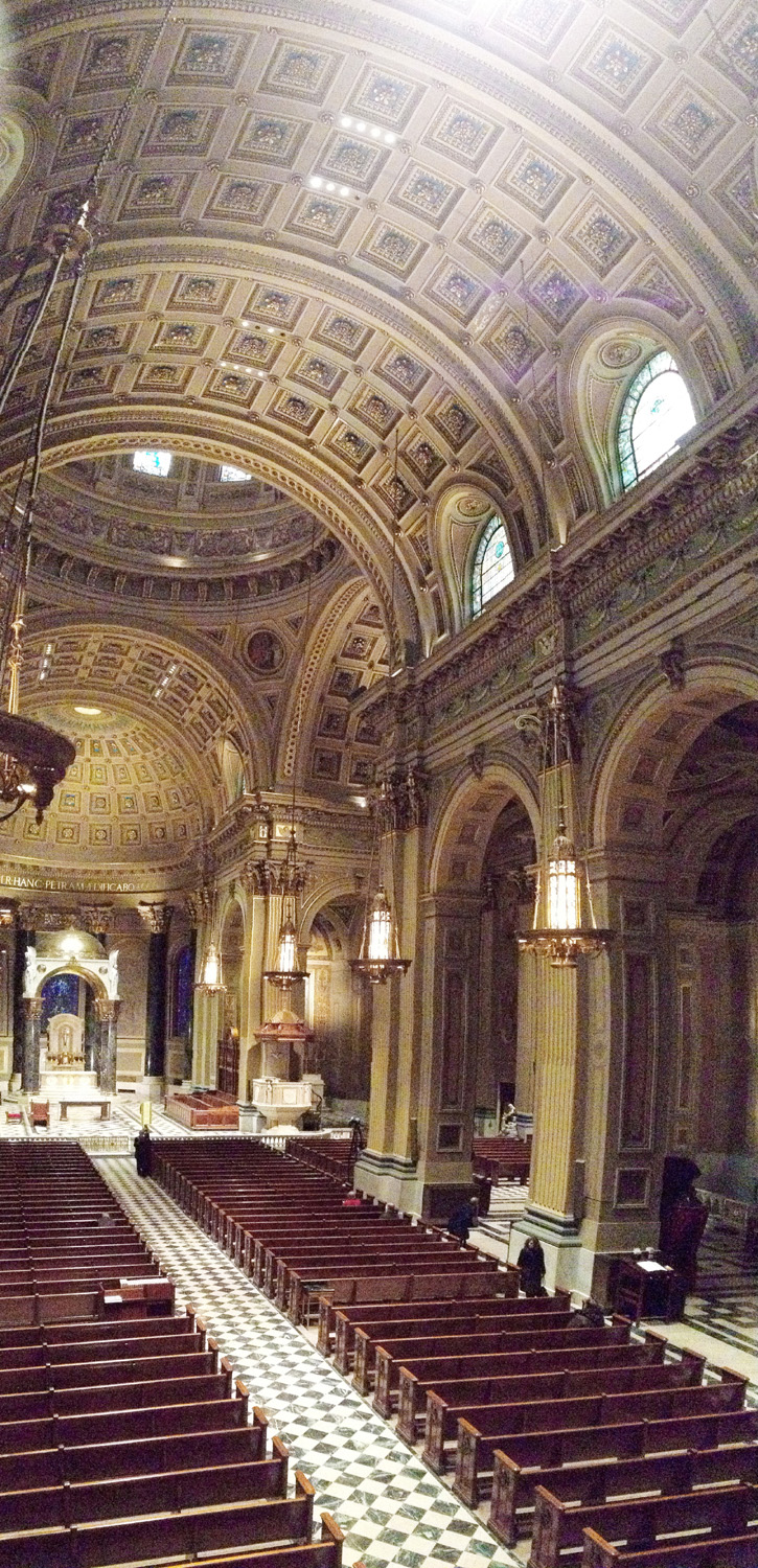 An interior view of the Cathedral Basilica of SS. Peter and Paul, Philadelphia, where Pope Francis will celebrate Mass Sept. 26. (Sarah Webb)