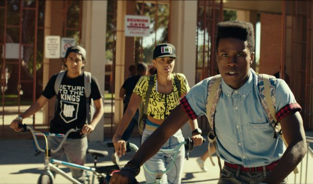 "Shameik Moore, Kiersey Clemons and Tony Revolori star in a scene from the movie ""Dope."" (CNS photo/Open Road Films)"