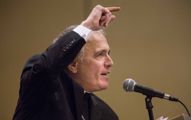 Cardinal Daniel N. DiNardo of Galveston-Houston, vice president of the U.S. Conference of Catholic Bishops, gives the keynote address June 7 during the Lay Ecclesial Ministry Summit in St. Louis. (CNS photo/Lisa Johnston, St. Louis Review)