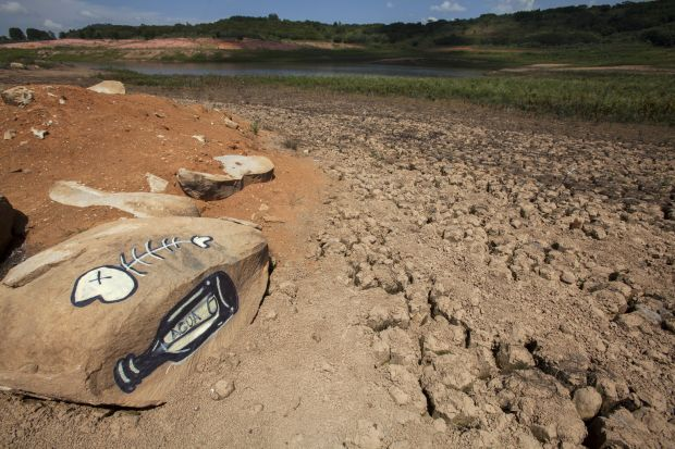 A View of the Jaguari dam in Brazil shows low water levels in early January. The drought in the region is the worst in 80 years, according to reports, as only a third of the usual rainfall occurred during the wet season from December to February. (CNS photo/Sebastiao Moreira, EPA)