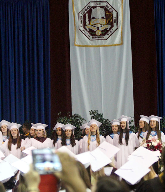The ladies of LF sing their alma matter together one last time as students.