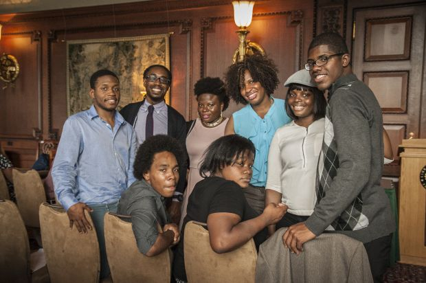 Formerly homeless youths who live in Covenant House facilities around the U.S. pose for a photo at the Library of Congress in Washington June 16. (CNS photo/courtesy Covenant House)