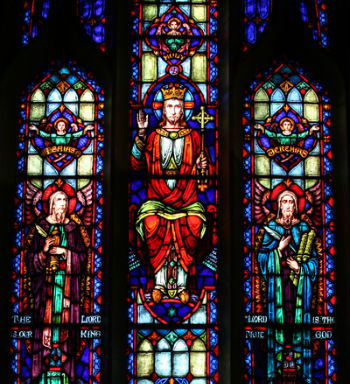 A stained glass window of Holy Saviour Church, Linwood.