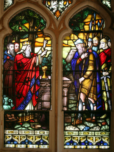 A stained glass window of Incarnation Church.