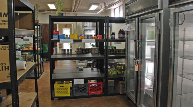 New refrigerators and shelves offering food items at the renovated food pantry at Catholic Social Services' Montgomery County center allow clients to choose the items they wish for their families.