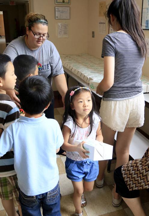 Felisa Liu gets her lunch at Holy Redeemer School Camp.